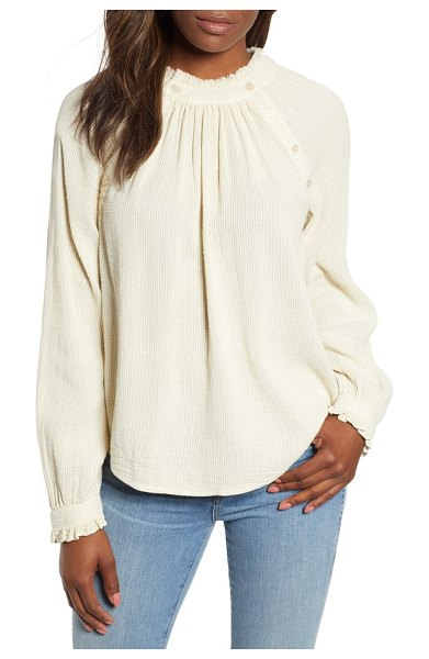 Caslon caslon textured cotton blouse in beige angora - Sweet topping for weekend denim, this billowy peasant...