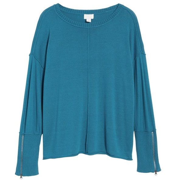 Caslon caslon zip cuff sweater in teal aegeans - Extended ribbed cuffs with zippers add a sporty-chic...