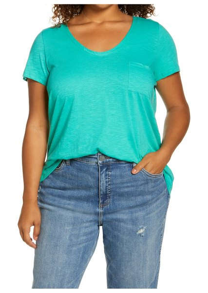 Caslon caslon(r) rounded v-neck tee in green marine