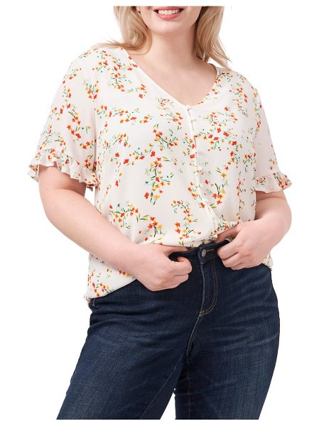CeCe by Cynthia Steffe blustery buds floral frill sleeve blouse in soft ecru