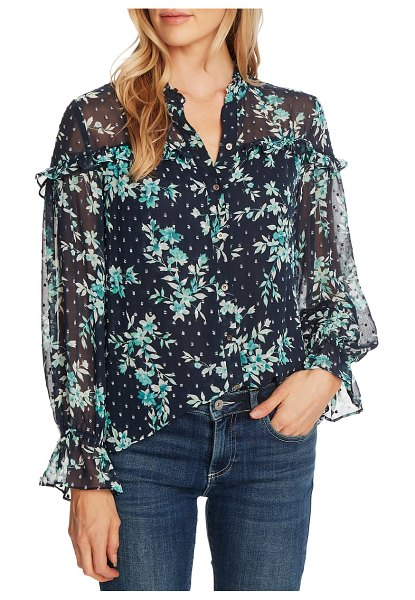 CeCe by Cynthia Steffe breezy bouquet clip dot long sleeve blouse in night shade