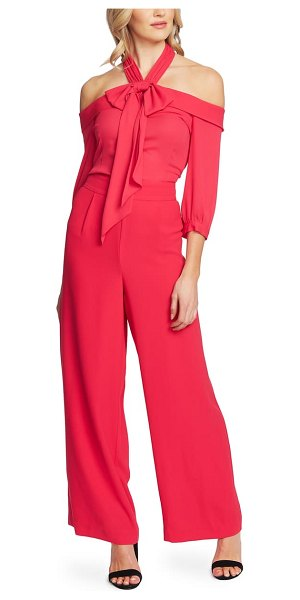 CeCe by Cynthia Steffe cold shoulder halter jumpsuit in ruby blush