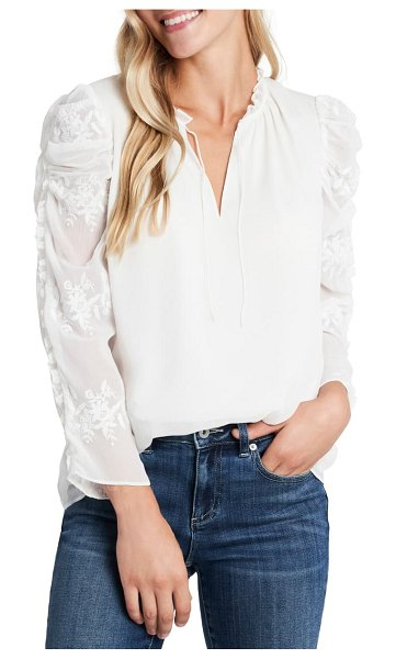 CeCe by Cynthia Steffe crinkle texture embroidered sleeve top in soft ecru