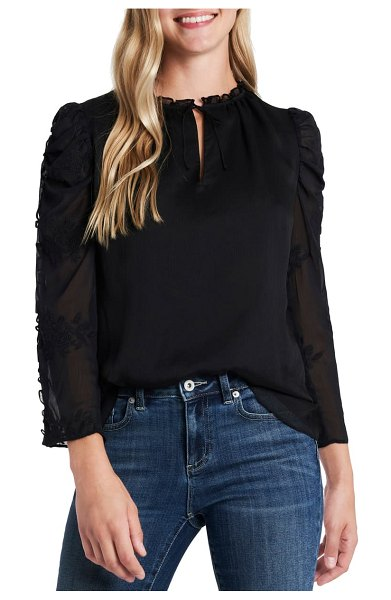 CeCe by Cynthia Steffe crinkle texture embroidered sleeve top in rich black