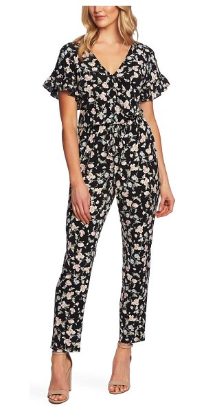 CeCe by Cynthia Steffe duchess floral print faux wrap jumpsuit in rich black - A straight-leg cut with a blouson wrap-style bodice...