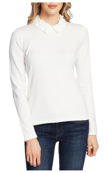 CeCe by Cynthia Steffe embellished collar sweater in antique white