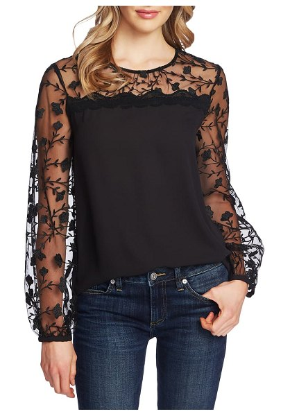CeCe by Cynthia Steffe floral embroidery mixed media top in rich black