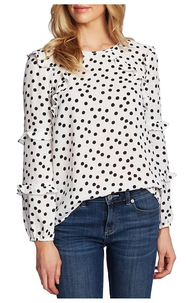 CeCe by Cynthia Steffe galactic dot tiered ruffle sleeve blouse in soft ecru