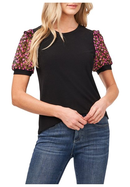 CeCe by Cynthia Steffe mixed media puff sleeve top in rich black