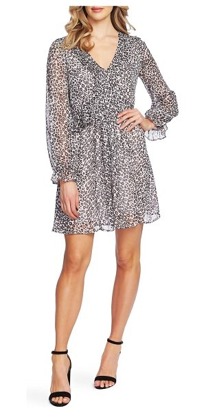 CeCe by Cynthia Steffe mountain leopard long sleeve dress in soft pewter