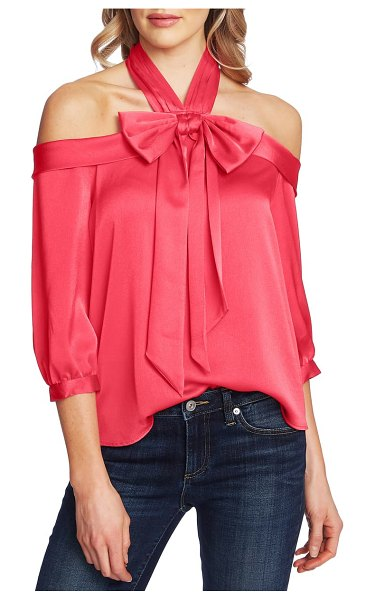 CeCe by Cynthia Steffe off the shoulder halter blouse in ruby blush
