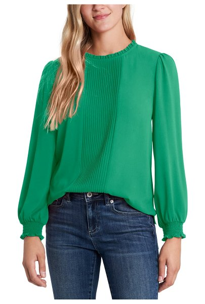 CeCe by Cynthia Steffe pintucked smock cuff chiffon top in luxe green