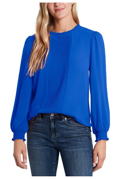 CeCe by Cynthia Steffe pintucked smocked cuff chiffon top in cobalt blule