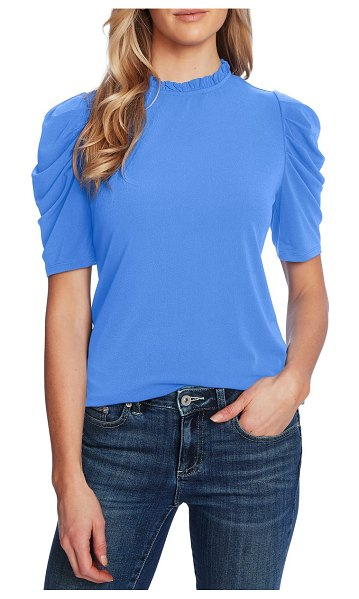 CeCe by Cynthia Steffe puff sleeve crepe top in moonlit