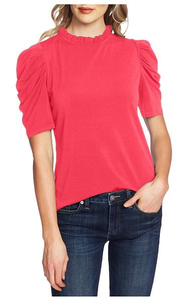 CeCe by Cynthia Steffe puff sleeve crepe top in ruby blush