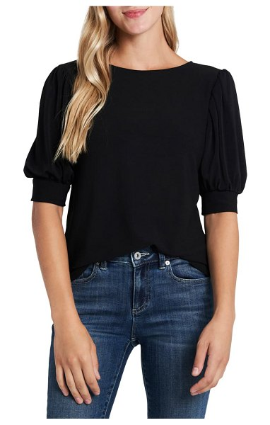 CeCe by Cynthia Steffe puff sleeve top in rich black