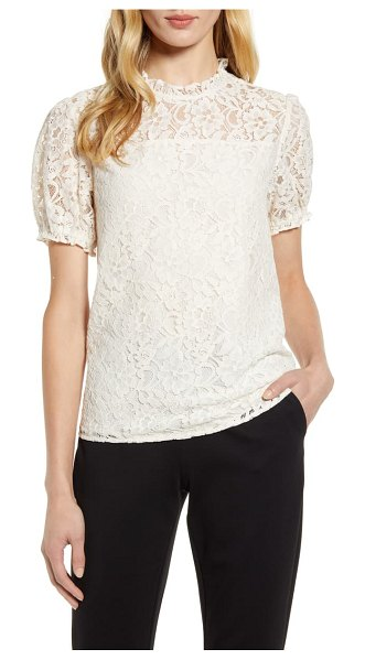 CeCe by Cynthia Steffe puffed sleeve floral lace blouse in soft ecru