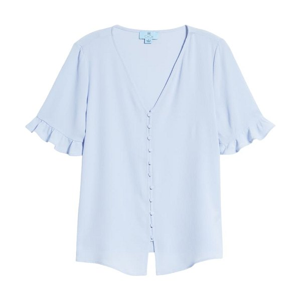 CeCe by Cynthia Steffe ruffle sleeve crepe blouse in blue bella