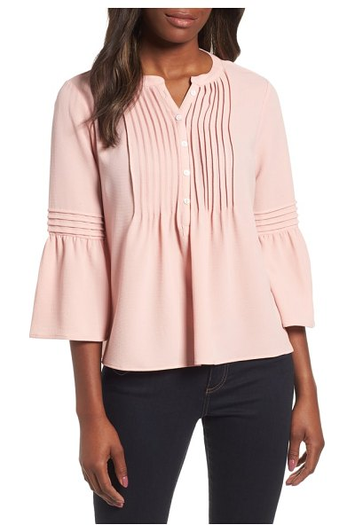 CeCe by Cynthia Steffe ruffle sleeve pintuck blouse in boquet pink