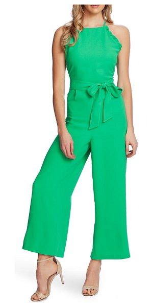 CeCe by Cynthia Steffe sleeveless belted ruffle jumpsuit in jasmine grn