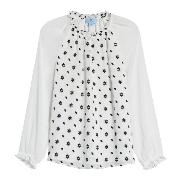 CeCe by Cynthia Steffe split neck floral embroidered blouse in soft ecru