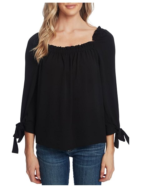 CeCe by Cynthia Steffe square neck tie cuff crepe top in jasmine grn