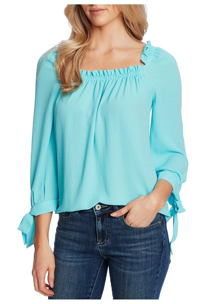 CeCe by Cynthia Steffe square neck tie cuff crepe top