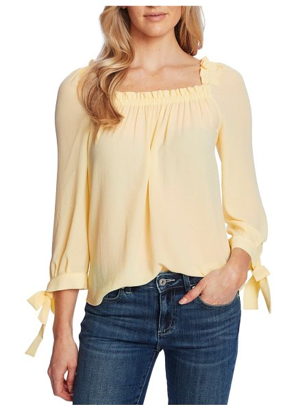 CeCe by Cynthia Steffe square neck tie cuff crepe top in lemonade