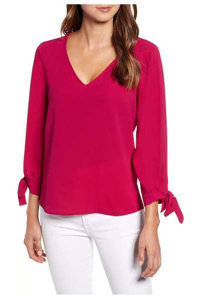 CeCe by Cynthia Steffe tie sleeve top in plumeria