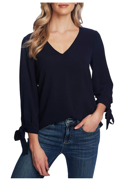 CeCe by Cynthia Steffe tie sleeve top in night shade