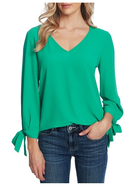CeCe by Cynthia Steffe tie sleeve top in jasmine grn