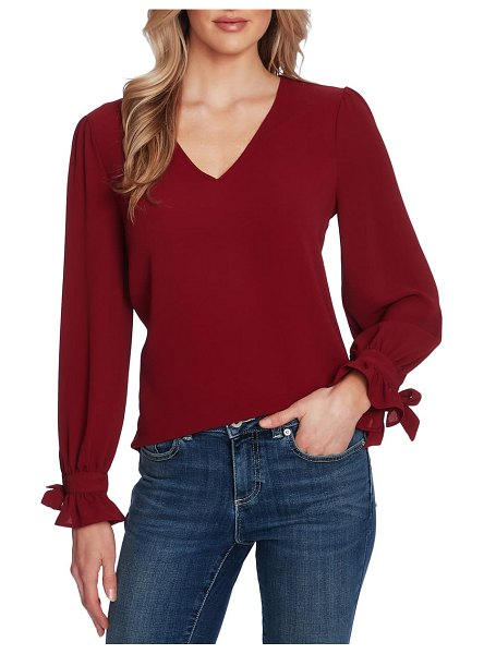 CeCe by Cynthia Steffe tie sleeve top in claret red