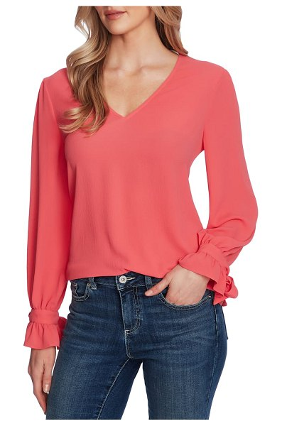 CeCe by Cynthia Steffe tie sleeve top in coral jewl