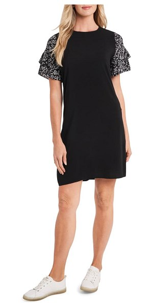 CeCe by Cynthia Steffe tiered floral sleeve shift dress in rich black