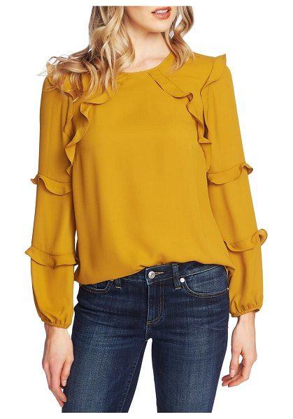 CeCe by Cynthia Steffe tiered ruffle blouse in harvest moon
