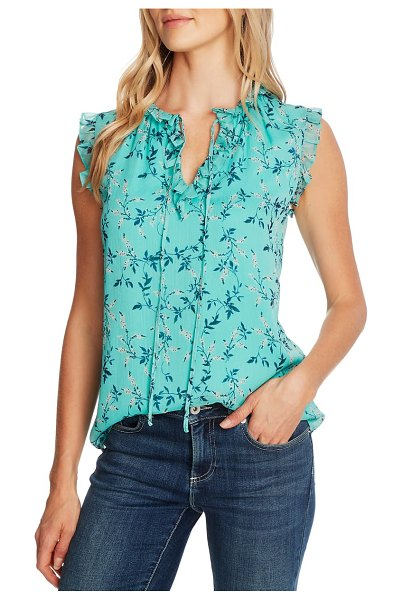 CeCe by Cynthia Steffe wisteria vines ruffled sleeveless blouse in teal pop