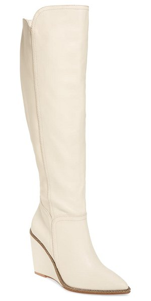 CECELIA NEW YORK riely knee high boot in alabaster leather