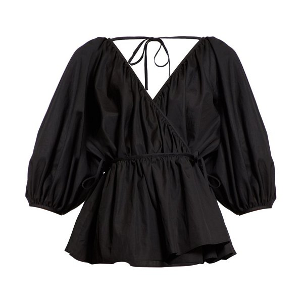 Cecilie Bahnsen aina wrap-front cotton-poplin blouse in black