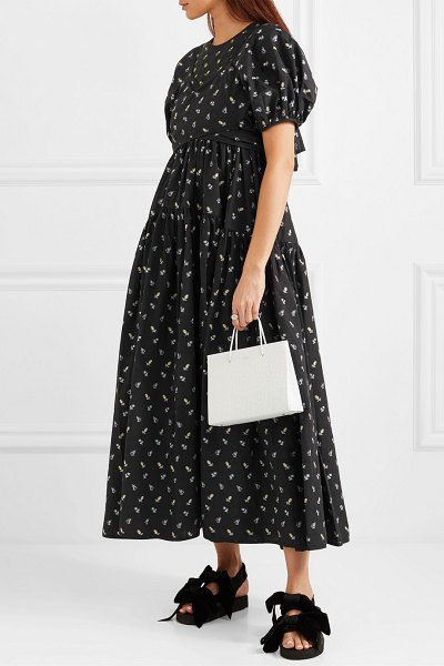 Cecilie Bahnsen anna tie-detailed tiered fil coupé cotton-poplin dress in black