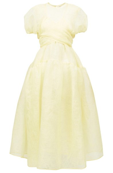 Cecilie Bahnsen anna wrap-front pintucked organza midi dress in yellow