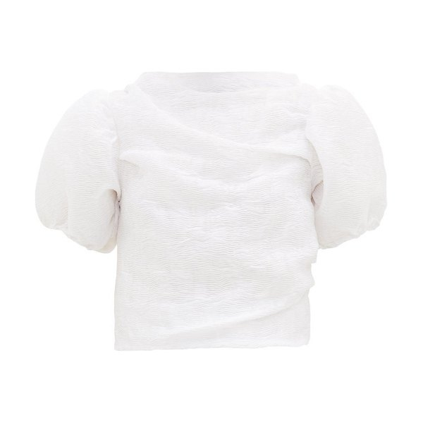 Cecilie Bahnsen elo puff-sleeve matelassé top in white