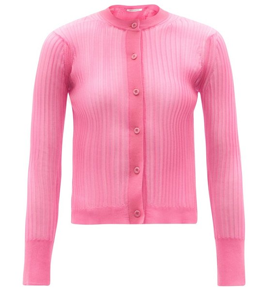 Cecilie Bahnsen felicity semi-sheer ribbed-knit cardigan in pink