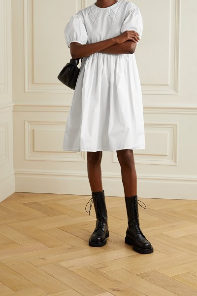 Cecilie Bahnsen malou embroidered tulle-trimmed cotton-poplin dress in white