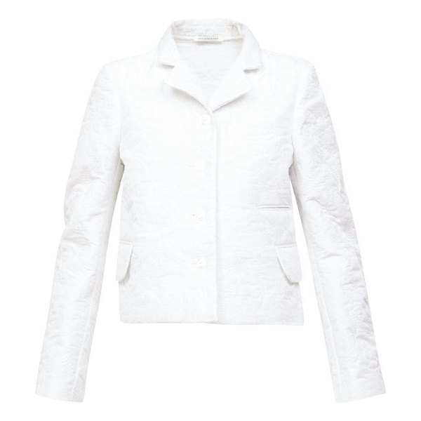 Cecilie Bahnsen mara single-breasted quilted-satin jacket in white