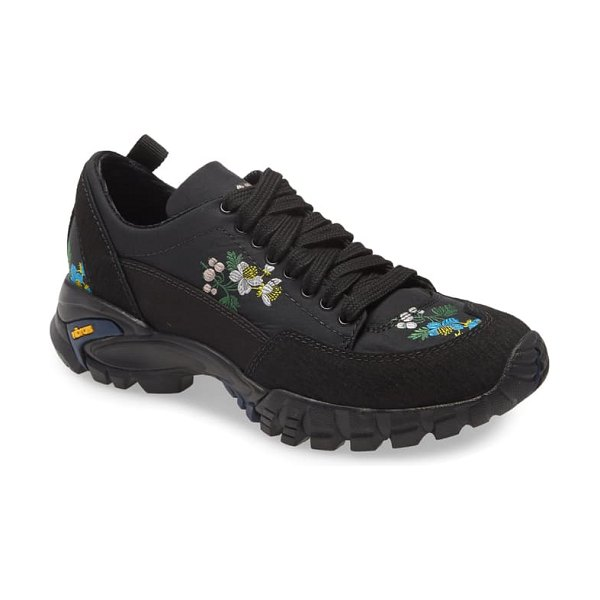 Cecilie Bahnsen max floral embroidered hiking sneaker in black/ multi