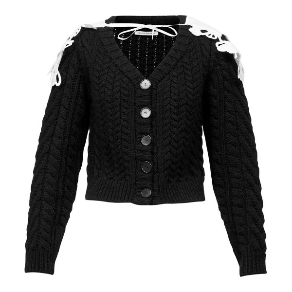 Cecilie Bahnsen milo contrast-cape cable-knit wool-blend cardigan in black