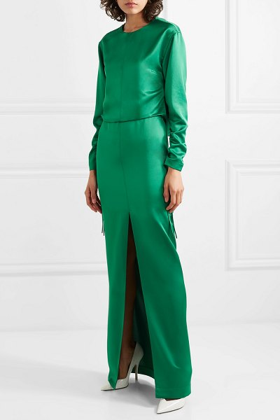 CÉDRIC CHARLIER open-back ruched satin gown in emerald