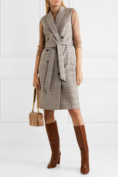 CEFINN belted prince of wales checked woven dress in brown