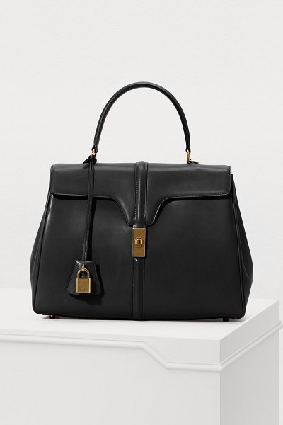 Celine 16 medium satiny calfskin leather bag in black
