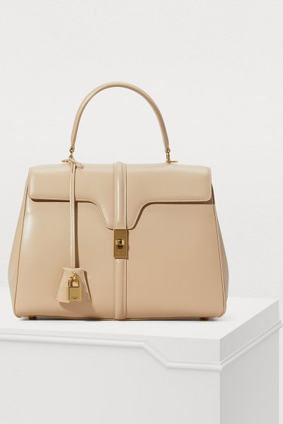 Celine 16 medium satiny calfskin leather bag in nude